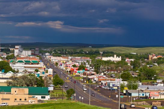 Looking down onto the town of Havre after a passing thunderstorm in Havre, Montana, USA